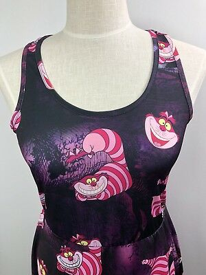 Cheshire Cat Kleid (Disney Hot Topic Womens Dress Size Large Black Alice in Wonderland Cheshire Cat )