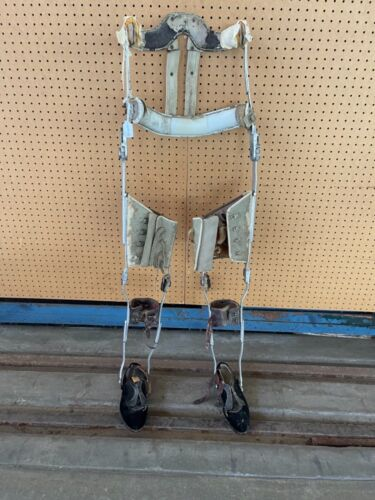 Vintage Polio Leg Brace Shoe Leather & Metal Medical Steampunk Pair With Shoes