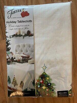 "Fiesta Christmas Trees Holiday Tablecloth Homer Laughlin 60"" X 84"" NWT"