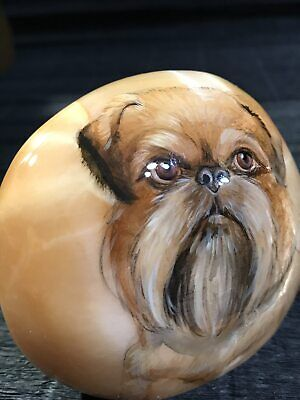 Brussels Griffon dog figurine selenite souvenir natural stone handmade