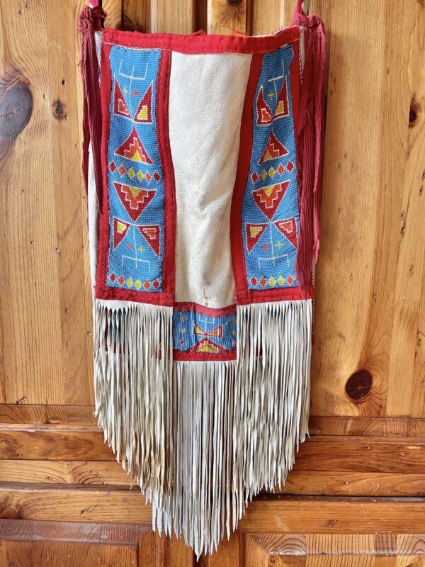 Vintage Native American fringed beaded bag