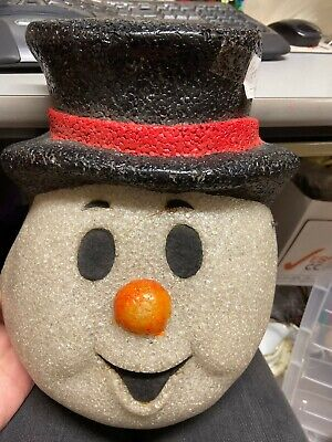 Vintage Popcorn plastic melted Snowman 1950's Lamp Post Cover 10x11""