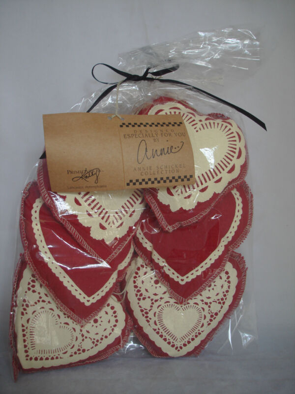 Red Valentine Heart Ornaments with White stamped details  6pc bowl fillers 17356