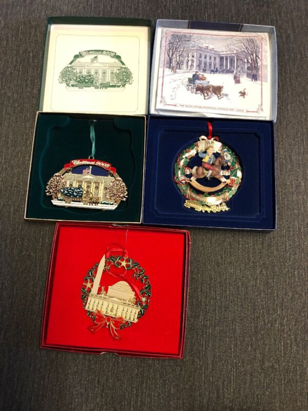 Lot of 3 White House Christmas Holiday Ornaments 2003, 2003, 2004 In Boxes