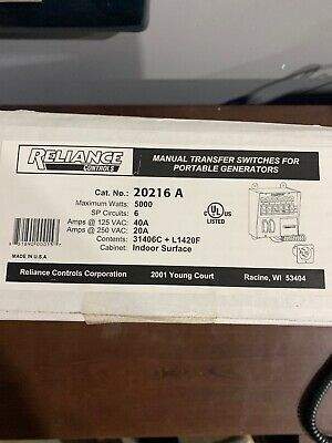 Reliance Controls Corporation 20216a Protran 6-circuit Indoor Transfer Switch