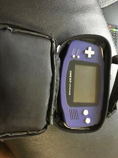Gameboy Advance console carry case and games including Pokémon