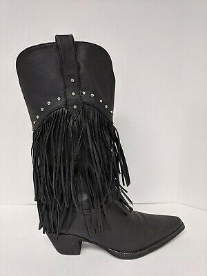 Roper Oakley Fringe Cowboy Boots, Black, Womens 8.5 (Womens Oakley Boots)