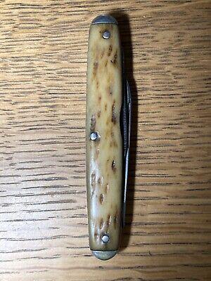 Vintage Hibbard Spencer Bartlett & Co. Pocket Knife 3 Blade Bone Handle w/File