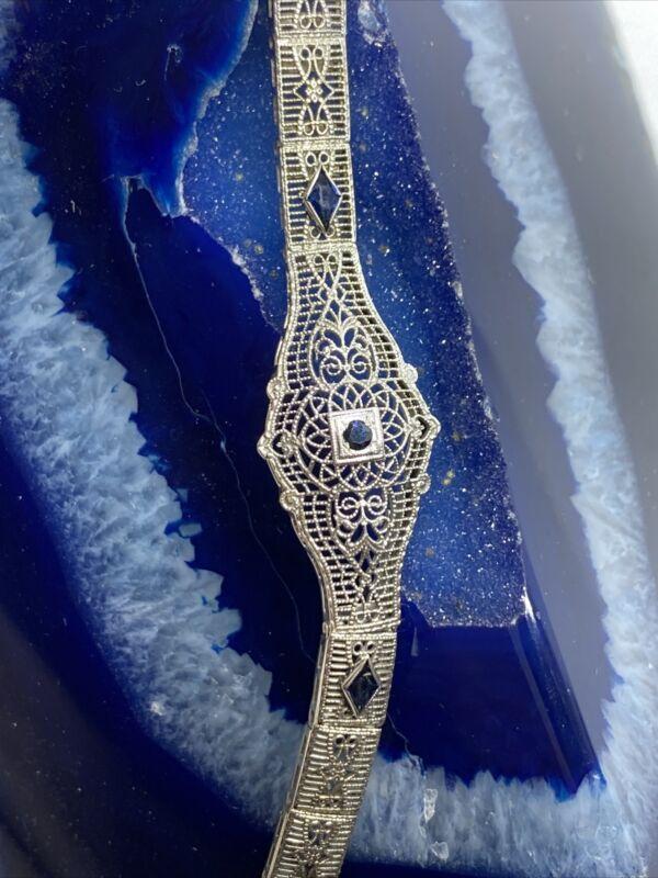 Antique 10K White Gold Filigree Link Bracelet with Blue Sapphire Accent Stones