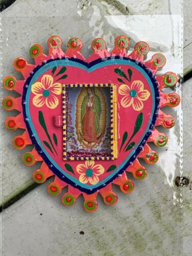 Virgen de Guadalupe Virgin Mary Mexican Metal Nicho Hand Painted 6x6x0.5 G11