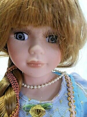 "J Misa Collection Porcelain 16"" Doll, Rapunzel, with Blue Dress and Red Hair"