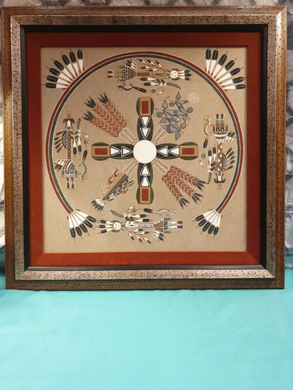 "NAVAJO SAND PAINTING, ""Whirling Logs"" indian ceremonial 24"" x 24"""