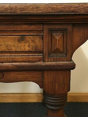 antique desk, leather & timber veneer top, deep drawers, W1830 x D980 x H760mm.