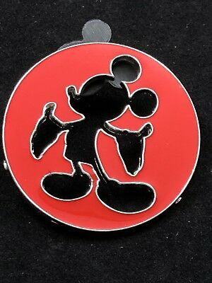 Disney Pin - Mickey Mouse Icon - Red Cutout Cut Out - Silhouette - Mickey Mouse Cut Out