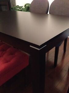 Dining table 6 chairs and bench