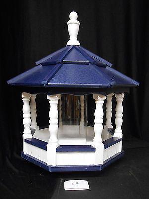 Vinyl Bird Feeder Amish Homemade Handmade Handcrafted White & Blue Roof Medium