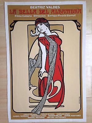 Original movie poster silkscreen by Julio Eloy 'La Bella del Alhambra' Cuba 1989