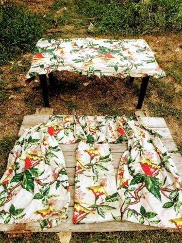 Vintage MCM Barkcloth Curtain Lot Cushion Cover Tropical Flowers