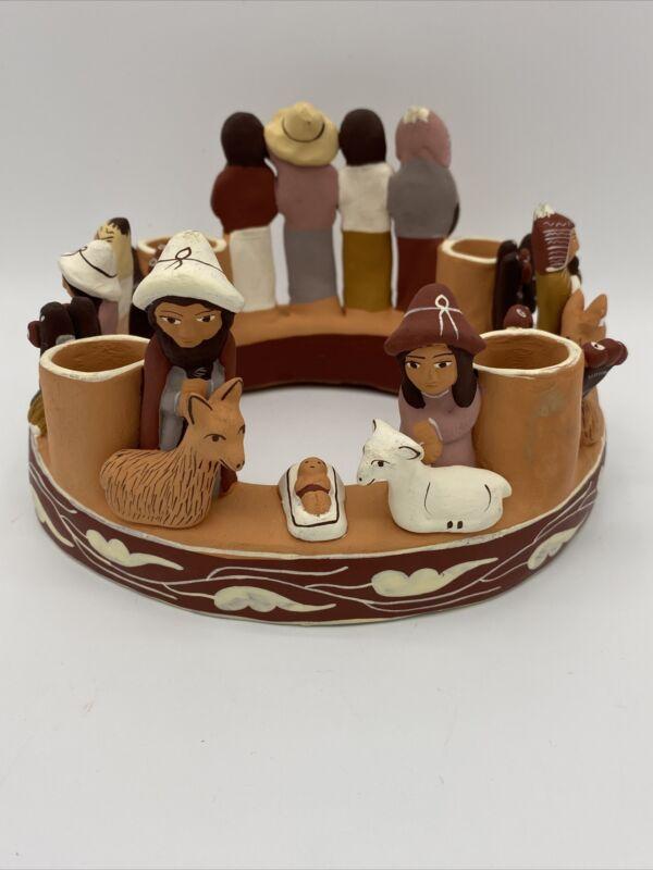 Peruvian Folk Art Terra Cotta Art Handmade Nativity Advent Wreath Circle Candle