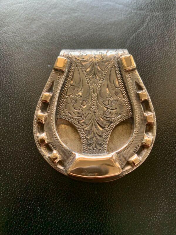 Edward H Bohlin Sterling Silver & Gold Engraved Money Clip