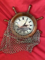 Captains Ship Wheel Clock, Sailing Scene & Lighthouse -  **LQQK**