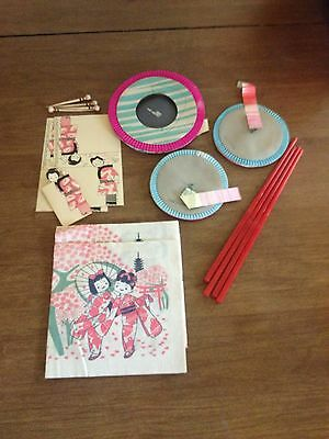 Vintage 1950's Japanese Party Supplies Favors Lanterns Chop Sticks Napkins