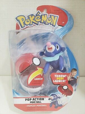 Pokemon Pop Action Throw Poke Ball and Popplio Authentic 2018 Plush Figure Set