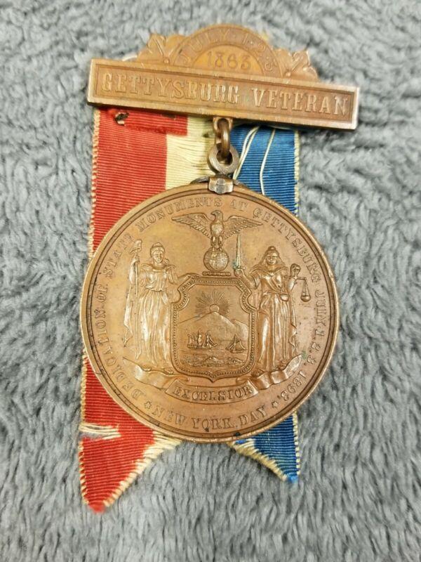 Civil War 1893 Gettysburg Veteran Medal NY 1863 30 Year Anniversary #2 Bronze