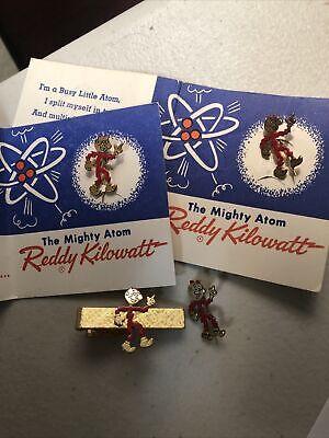 Reddy Kilowatt Original Vintage Tie Clip And Pin Lot Electric Delaware Power