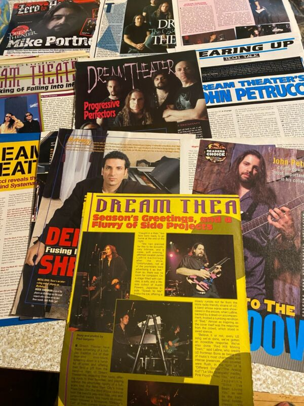 John Petrucci, Dream Theater, Lot of NINE Full Through Four Page Clippings