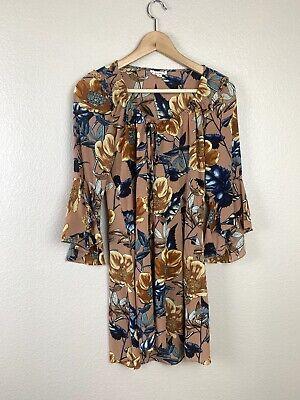 For Love & Lemons Womens Medium Floral Bell Sleeve Mini Dress Tie Neck Revolve