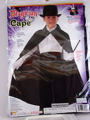 Masked Magician Halloween Costume (Child's Black Magician Cape With Collar Halloween Dress Up Costume)