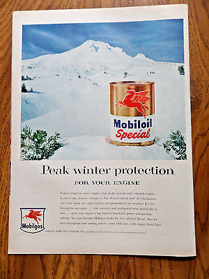 1955 Mobiloil Oil Gas Ad Peak Winter Protection for your Engine