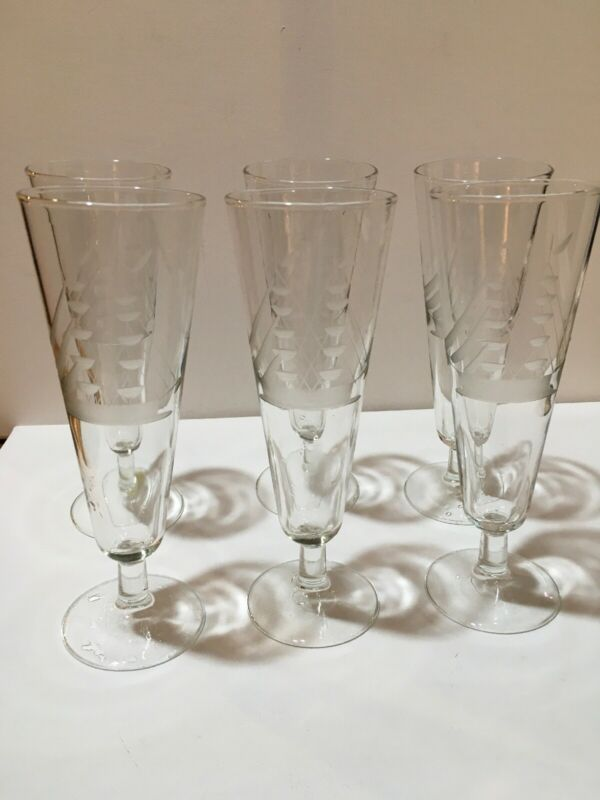 Six Vintage Beer  Glasses With Etched Sailboats 8 Inches Tall Perfect