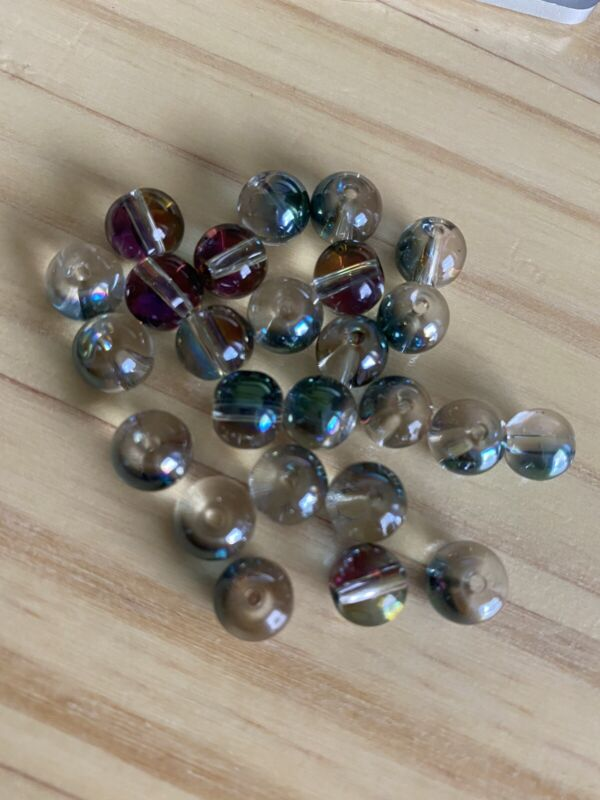 25  RAINBOW PLATED ROUND 8 X 8.5mm Lampwork glass beads -  DIY jewelry