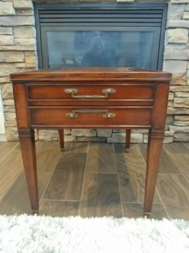 MId-Century HEKMAN Wooden End Table with Stamped Seal of Integrity & Value