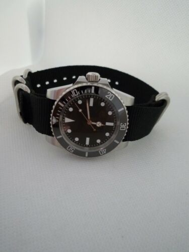 Automatic STERILE BLACK CERAMIC Military  Submariner Mercedes hands 316L