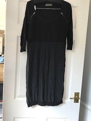 Black Velvet Jumper Dress - Mint Velvet Black Jumper Dress Zip Detail Size 14 100% Silk Sheer Skirt *