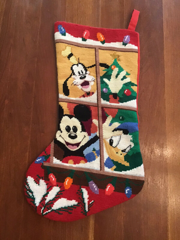 MICKEY MOUSE Co CHRISTMAS NEEDLEPOINT STOCKING~Mickey*Goofy*Donald Duck*Midwest