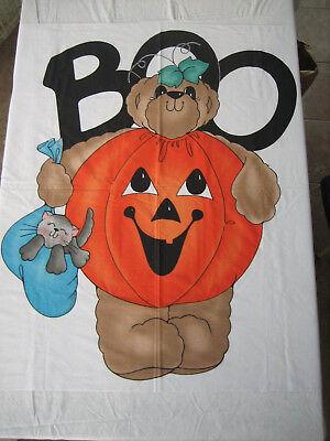 BOO Halloween Bear Wearing Pumpkin Costume Door Panel Fabric Pattern Cut & Sew