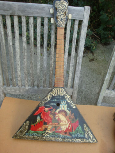 Original Russian  Instrument Balalaika 3 String Hand Painted Signed