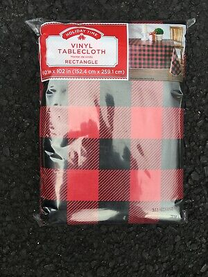 Red Plaid Tablecloth (Buffalo Plaid Vinyl Tablecloth 60 x 102 Red Black Checked Christmas Holidays)