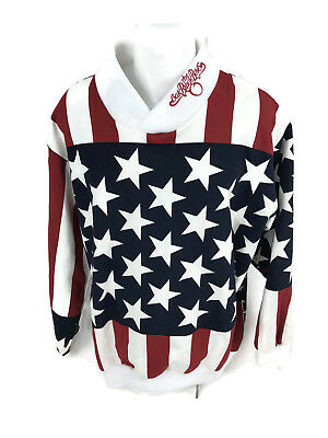 Oak Ridge Boys Men's Fleece Pullover Sweatshirt American Flag Stars Stripes L Oak Ridge Stripes
