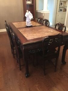 Antique table and matching chairs