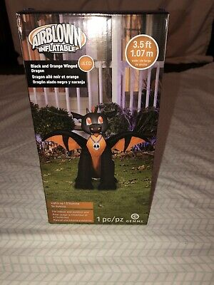 Gemmy AirBlown Inflatable 3.5 Ft Black and Orange Winged Dragon-lights Up 221975