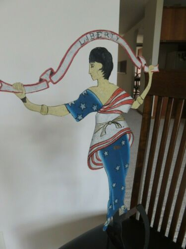 """Antique Rocker  Hand Painted  """" Lady Liberty """""""