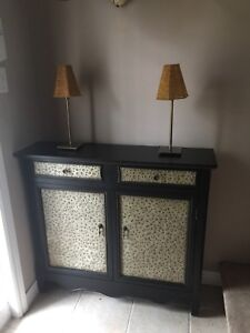 Hammered Metal/Wood Hall Console, Swivel Rockers,Coffee Table