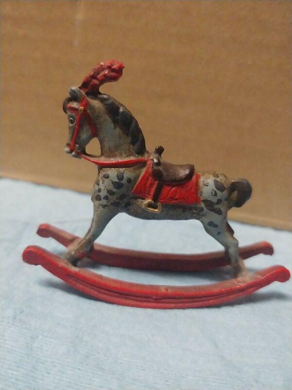Metal Miniature Dollhouse Toy Rocking Horse  - Antique
