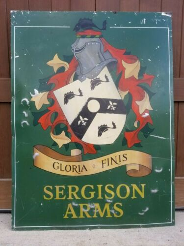 Vintage Sergison Arms Handpainted English Coat of Arms Pub Sign Knight