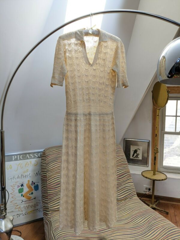 Antique Dress Vintage 1920s Ivory Knit Wear Original Art Deco Era Day Dress